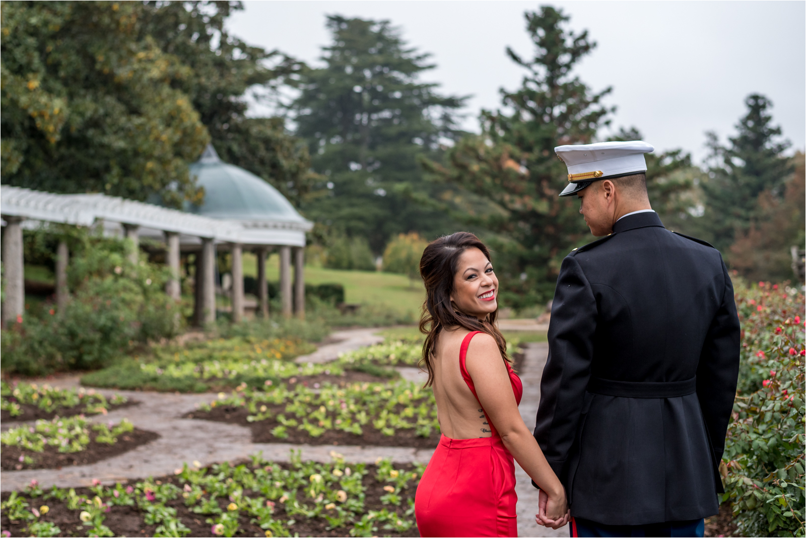 couple-photography-session-focus-on-joy-photography-richmond-virginia-maymont-park-rva-woman-red-dress-gown-military-man-marines-dress-blues-marine-corps-ball