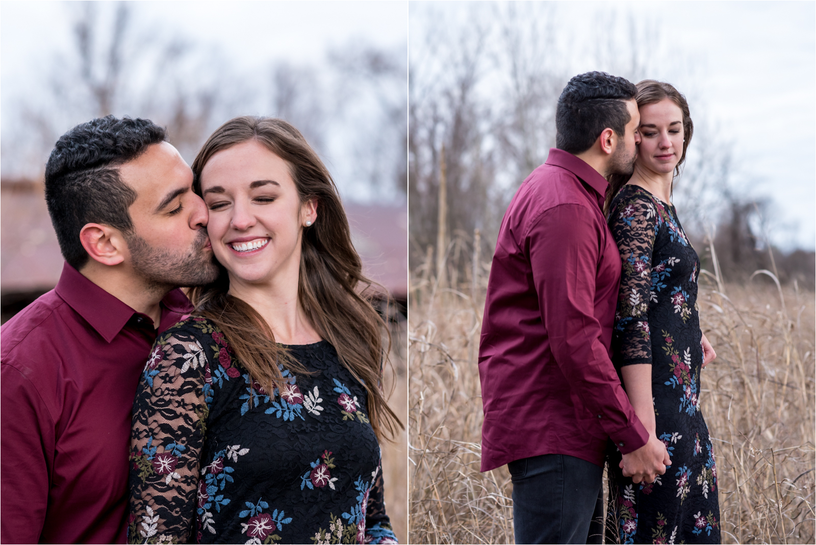 engagement-session-belle-isle-james-river-richmond-city-municipal-park-rva-virginia-va-maroon-shirt-flower-floral-dress-fiance-man-woman-bridge-cityscape-kissing-landscape-focus-on-joy-photography