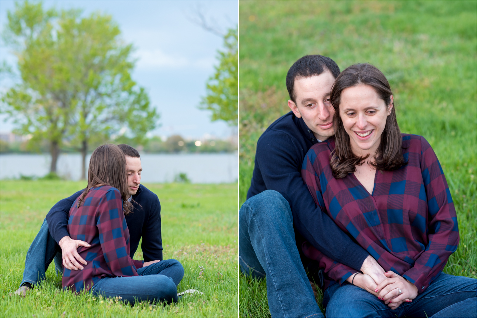 engagement-photography-session-focus-on-joy-photography-jessica-capozzola-gravelly-point-park-washington-dc-maroon-checkered-shirt-navy-sweater-husband-wife-fiance-engaged-couple