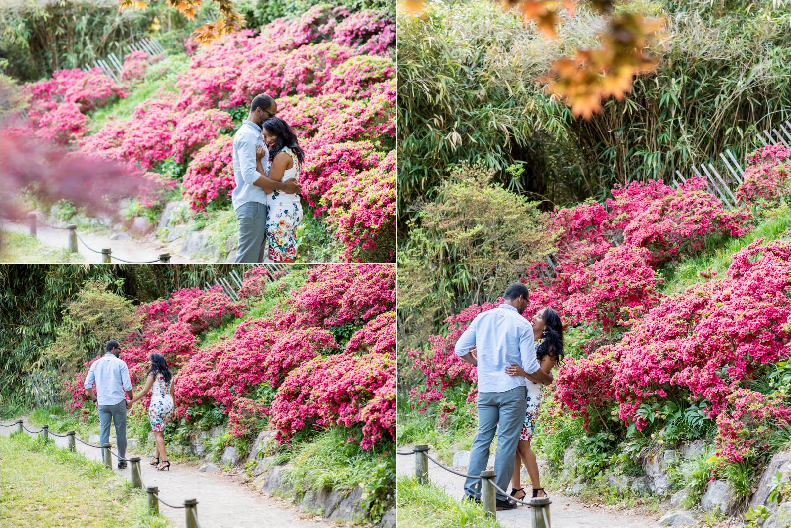 japanese-gardens-japanesegardens-engagement-images-maymont-park-italian-japanese-gardens-richmond-virginia-rva-va-focus-on-joy-photography-african-american-couple-white-dress-colorful-flowers-blue-polo-shirt-richmond