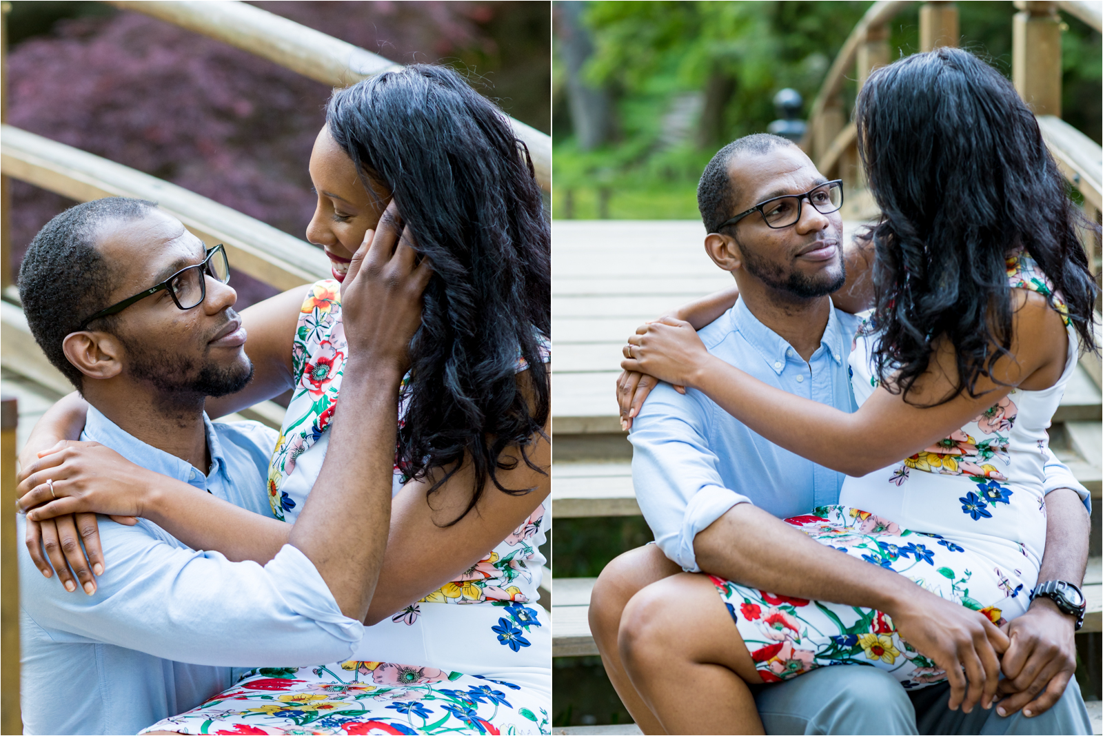 japanese-gardens-japanesegardens-engagement-images-maymont-park-italian-japanese-gardens-richmond-virginia-rva-va-focus-on-joy-photography-african-american-couple-white-dress-colorful-flowers-blue-polo-shirt-richmond