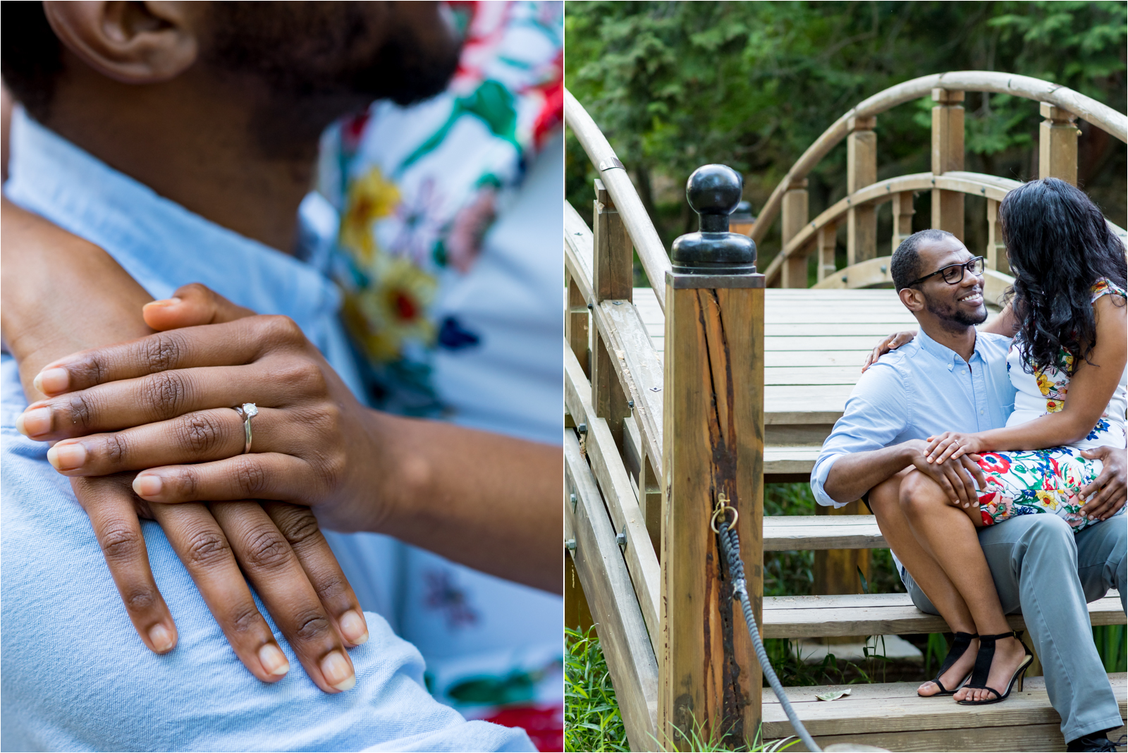 japanese-gardens-japanesegardens-engagement-images-maymont-park-italian-japanese-gardens-richmond-virginia-rva-va-focus-on-joy-photography-african-american-couple-white-dress-colorful-flowers-blue-polo-shirt-richmond-bridge