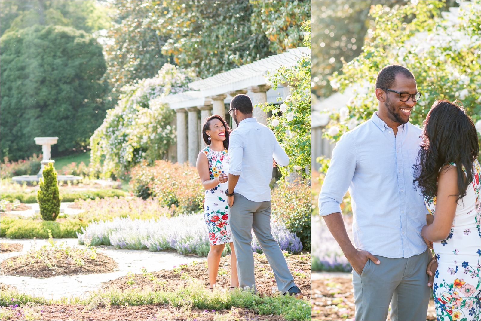 italian-gardens-engagement-images-maymont-park-italian-japanese-gardens-richmond-virginia-rva-va-focus-on-joy-photography-african-american-couple-white-dress-colorful-flowers-blue-polo-shirt-richmond