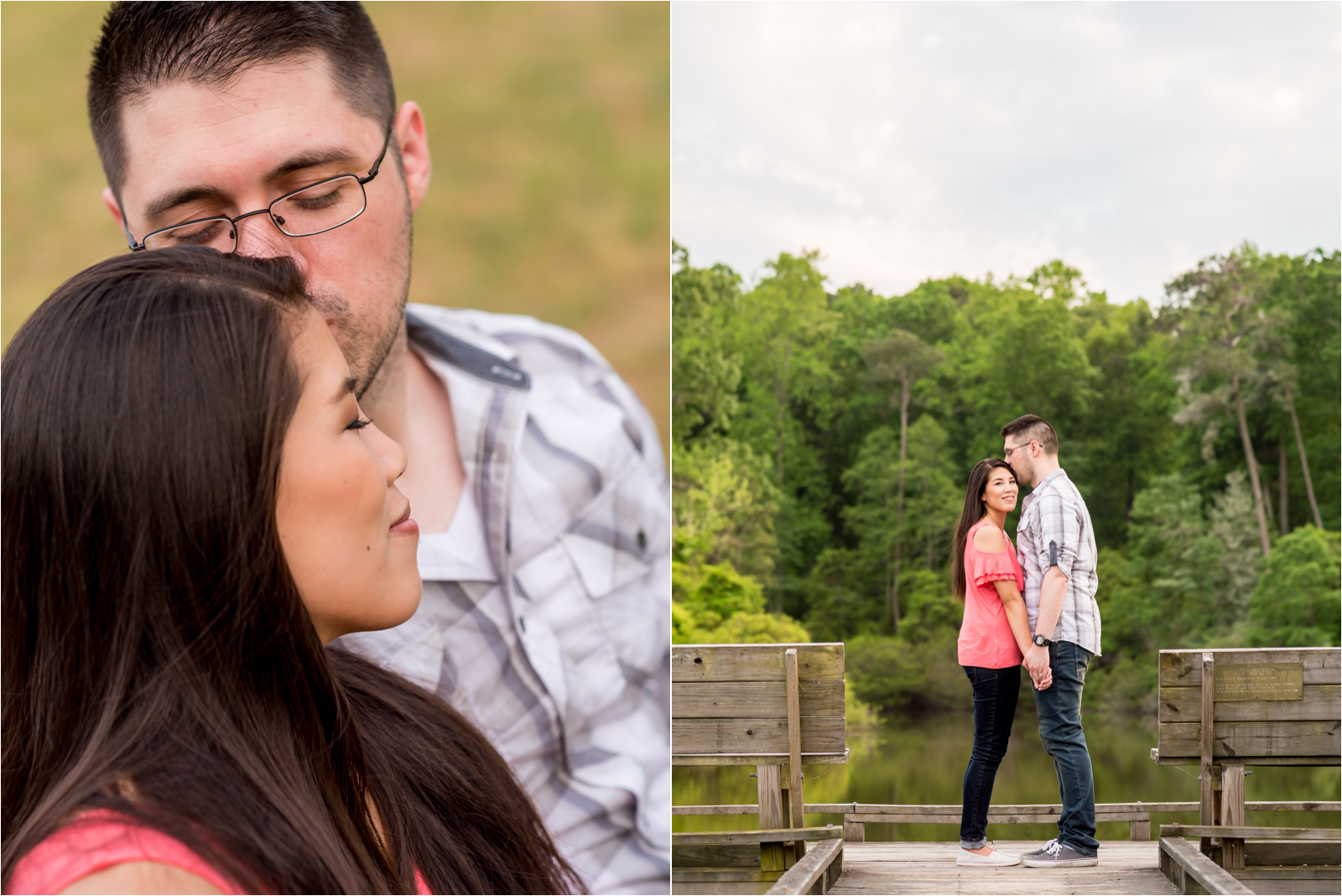 couple-engagement-portrait-man-jeans-checkered-blue-shirt-woman-pink-off-shoulder-blouse-york-river-state-park-williamsburg-va-virginia-focus-on-joy-photography-richmond-virginia-rva