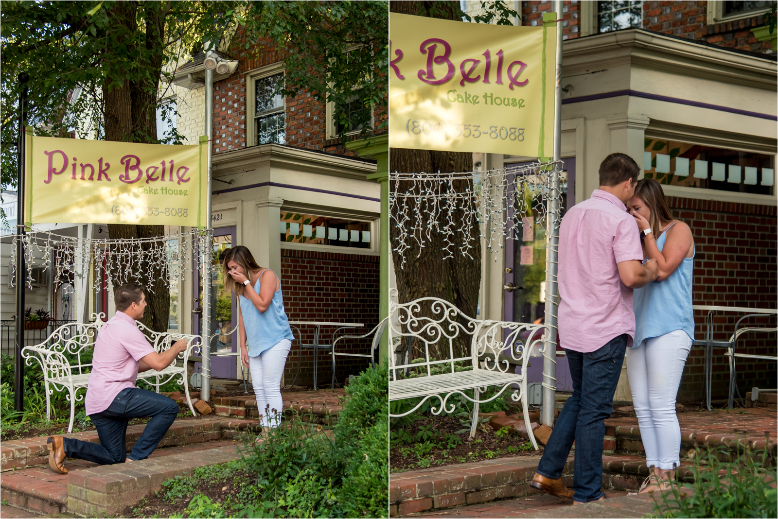 proposal-engagement-photography-carytown-richmond-virginia-rva-fiance-pink-collared-shirt-white-pants-blue-blouse-engagement-ring-focus-on-joy-photography