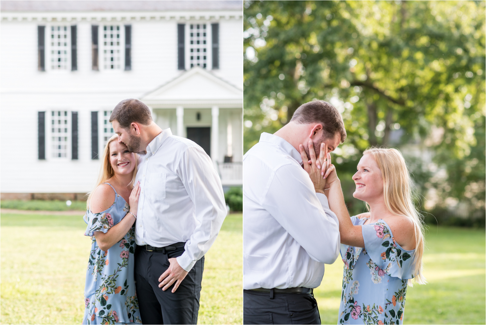 engagement-session-thanksgiving-proposal-story-man-woman-white-collared-shirt-blue-floral-dress-flower-garden-gardens-tuckahoe-plantation-richmond-virginia-jessica-capozzola-focus-on-joy-photography-richmond-virginia-rva